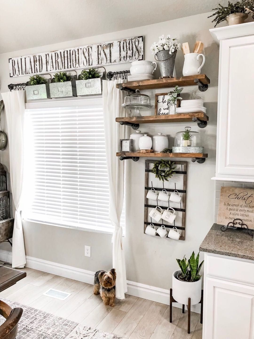 $29.99 Wall Mounted Wood Framed Cup Rack #farmhousekitchendecor