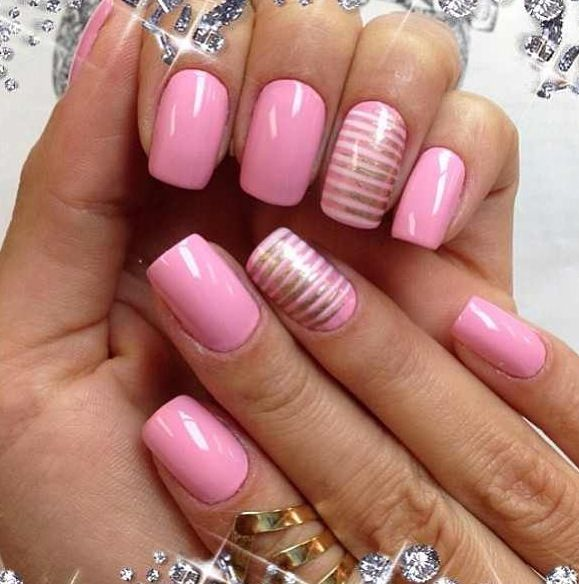 Pink nails with silver stripes.
