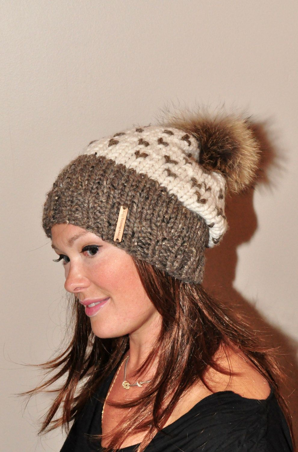 a15bc04b47559 Fair Isle Slouchy Hat Two Tone Pompom Beanie Chunky Women Hat Winter Hat  CHOOSE COLORS Ivory Beige Brown Chunky Knit Hat Christmas Gift by lucymir  on Etsy