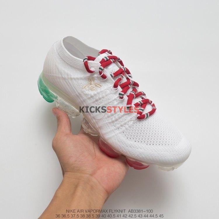 a0a676e26 Custom Nike Air VaporMax Flyknit Gucci KingSnake Bee White Green Red ...