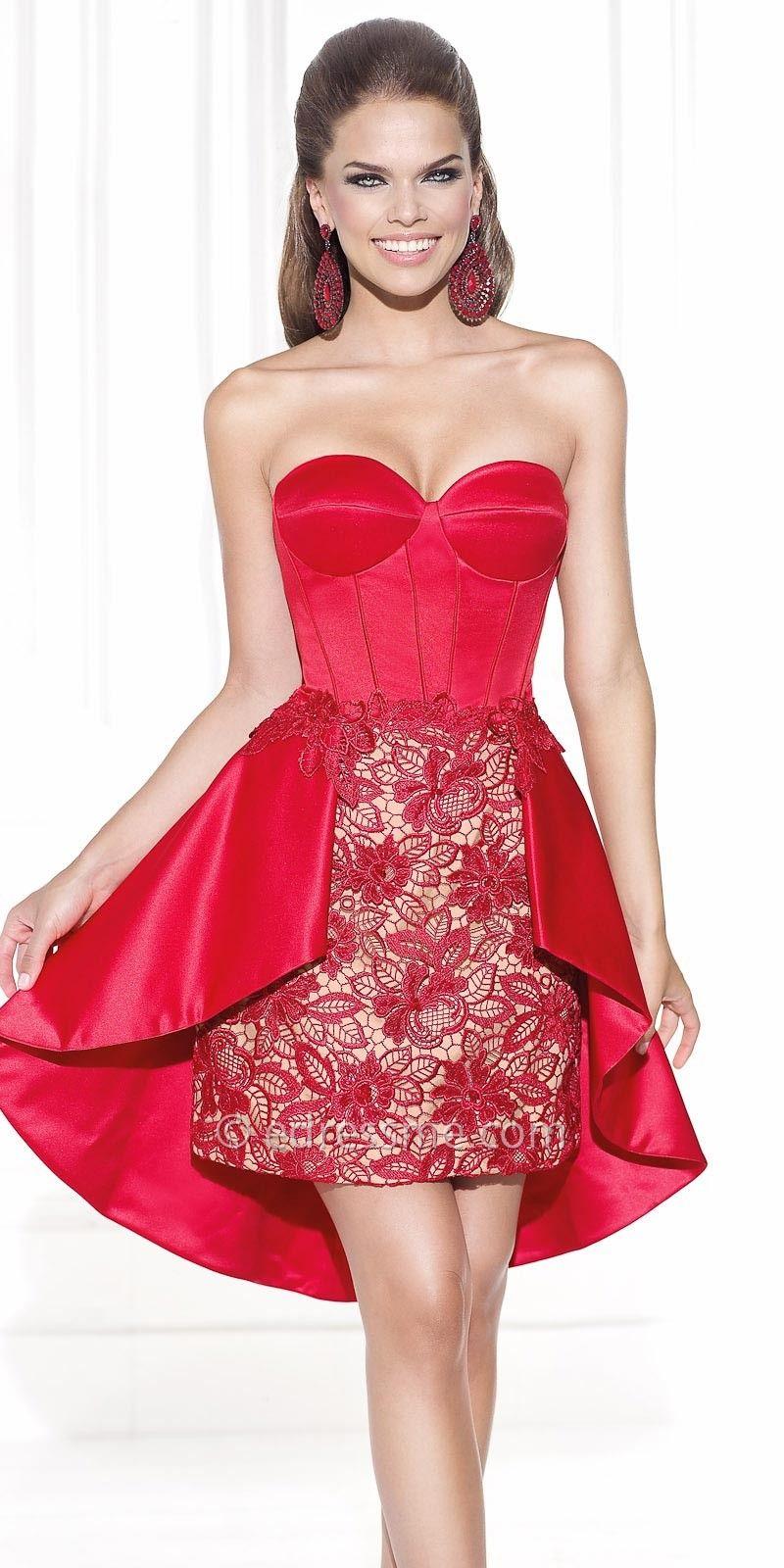 Satin Corset Lace Cocktail Dresses by Tarik Ediz | prom dresses ...