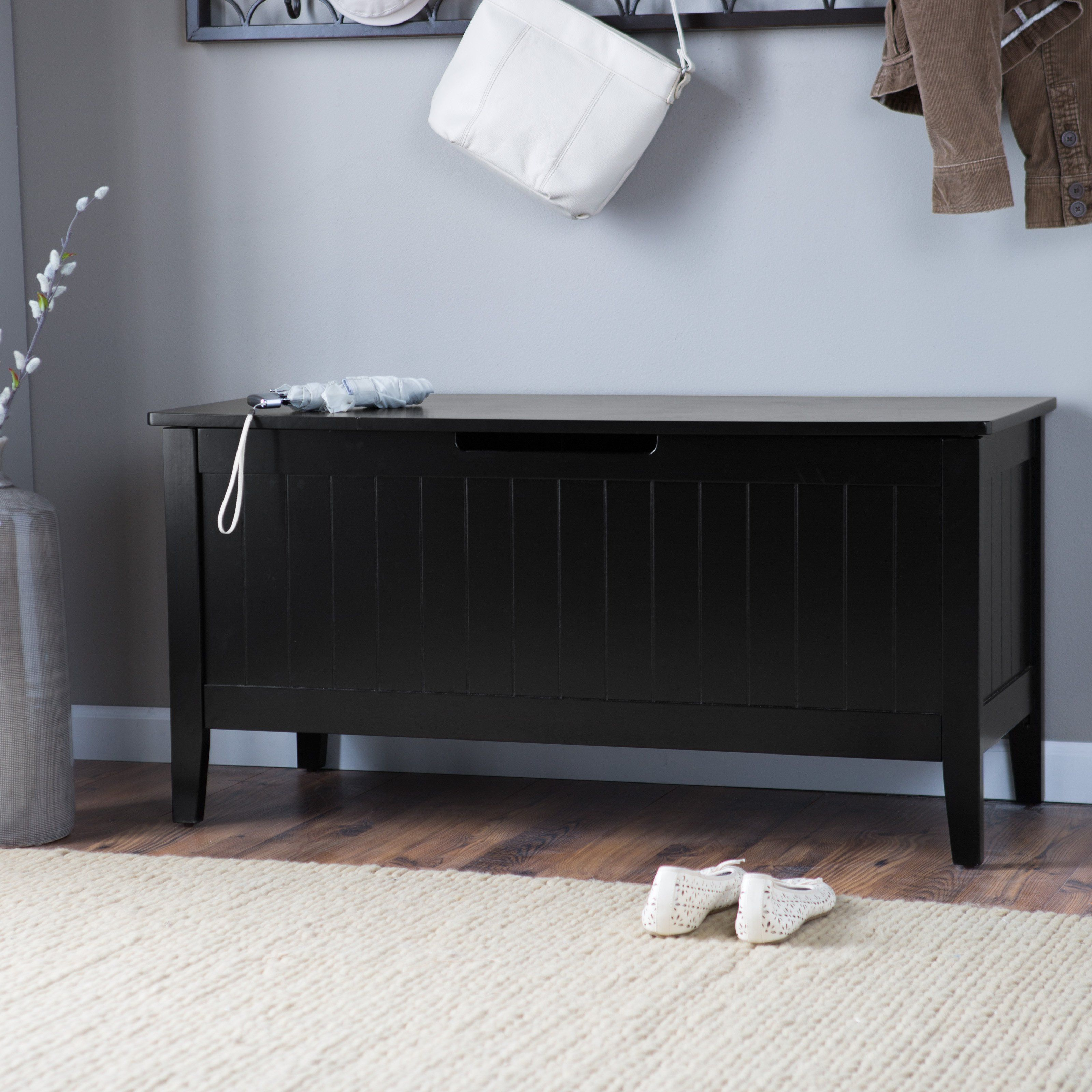 Long Storage Bench Black Wooden Cushion Seating Padded Footstool Ottomans Sling 104 00end Date Ebay Storage Ottoman Bench Storage Bench Living Room Bench
