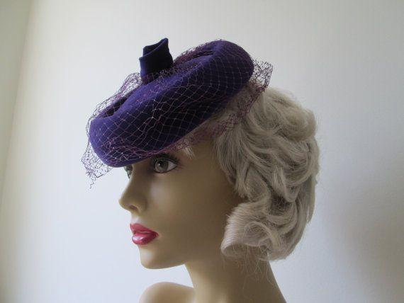 Vintage purple velvet pillbox hat