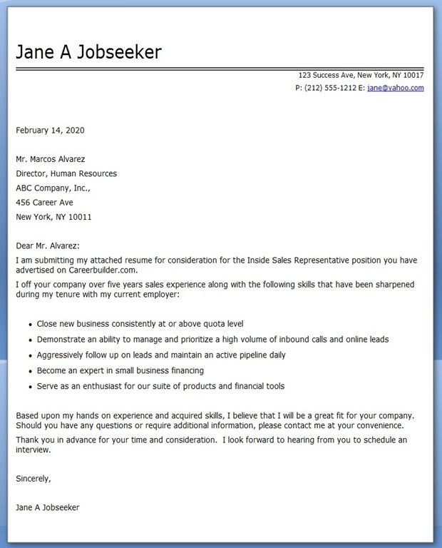 Great Inside Sales Cover Letter