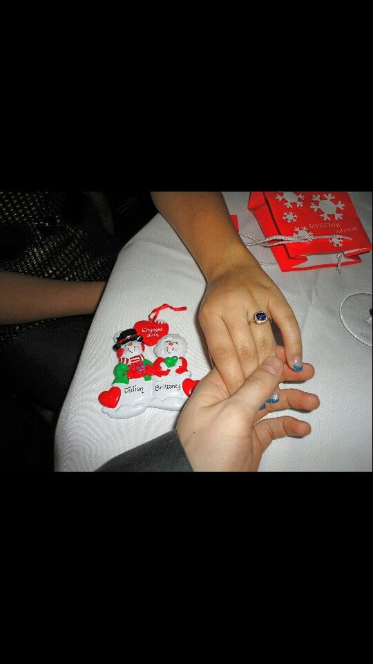 Romantic proposal with Christmas a ornament The Eiffel Tower