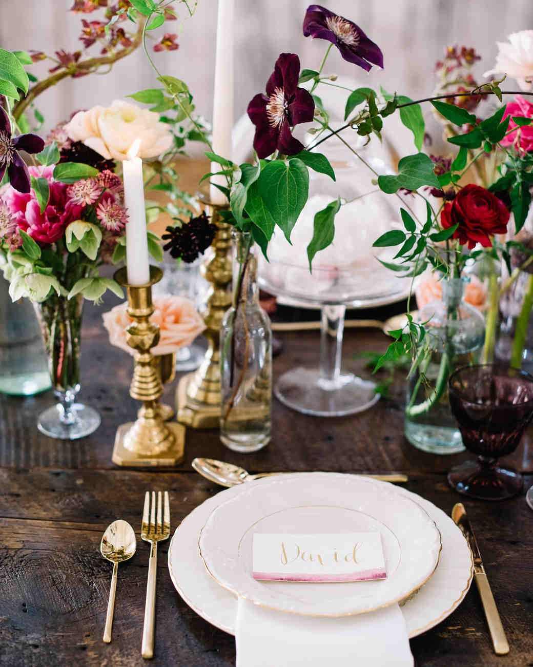 Www Wedding Flowers And Reception Ideas Com: Romantic, Deep-Hued Cluster Centerpieces