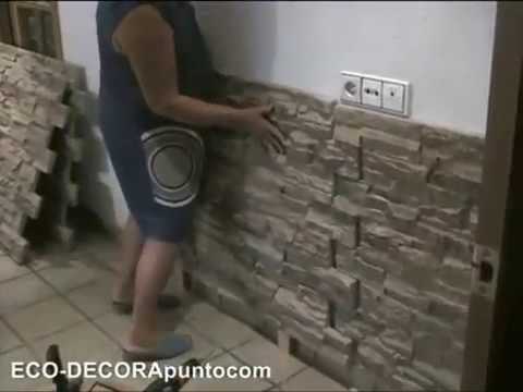 Como colocar revestimiento de paneles decorativos reproducci n de piedra o ladrillos - Revestimiento paredes imitacion piedra ...