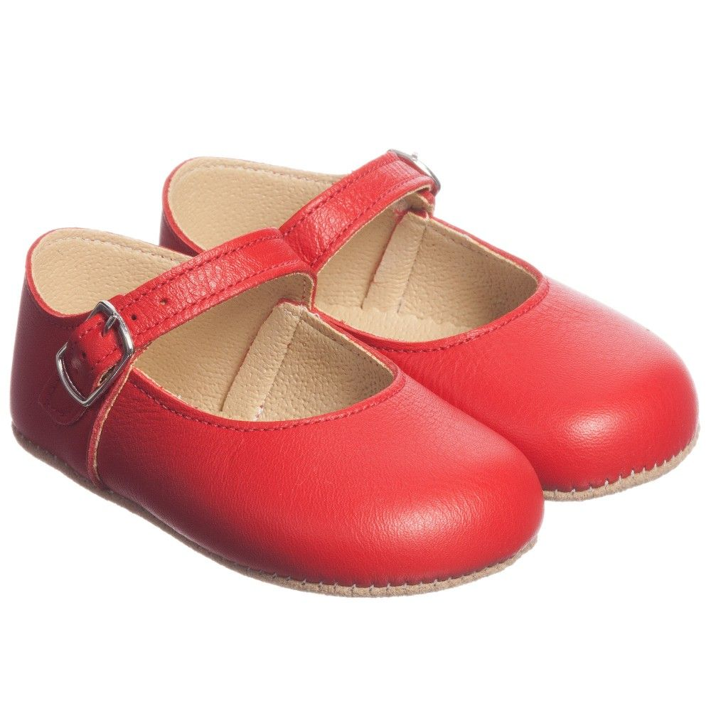 2dd1785dca6f72 Early Days - Girls Red Leather  Mary Jane  Pre-Walker Shoes