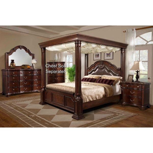 Elegant Tabasco Cherry 7 Piece Queen Bedroom Set