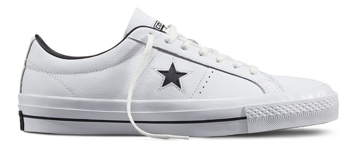 Converse One Star Low Top Leather White  Black  77c03a939