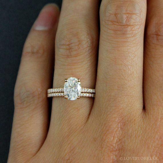 Oval Moissanite Solitaire Engagement Ring Forever One Colorless