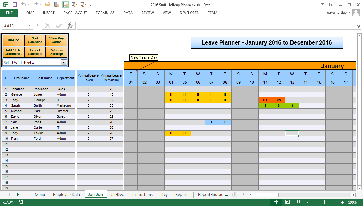 The Staff Leave Calendar A Simple Excel Planner To Manage Staff Vacation Planner Template Vacation Planner Excel Calendar Template
