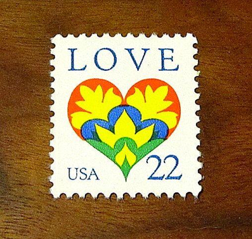 LOVE Stamp Set of 50  Unused Vintage Postage Stamps by TreasureFox,