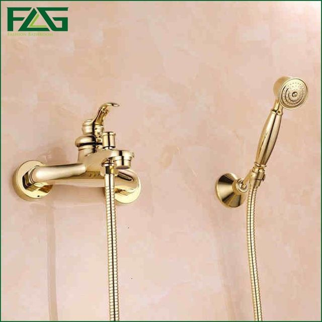 FLG Chrome Finished Shower Head Titanium Gold Shower Set Bathroom Shower  Faucet Water Saving Shower Head