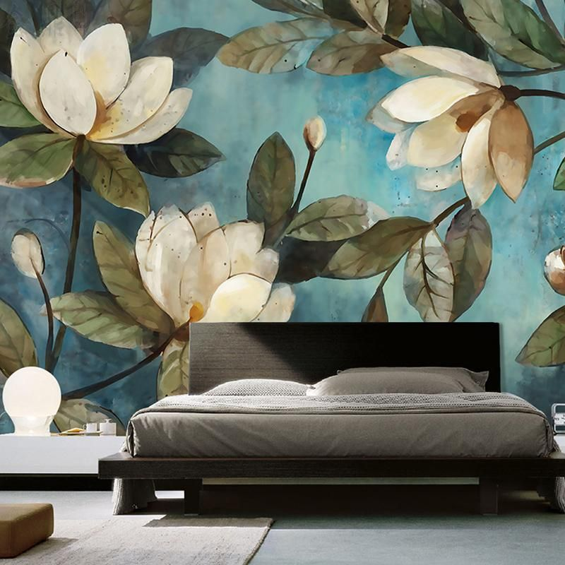 High Quality Deep Texture 3d White Lotus Retro Style Oil Painting Murals Home Decoration Wallpaper Liv Floral Wall Decor Wallpaper Living Room Mural Wallpaper