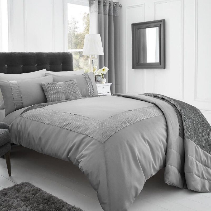 Silver Grey Stylish Textured Faux Silk Duvet Cover Luxury Beautiful