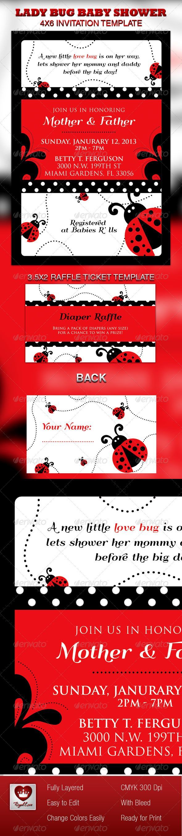 Lady Bug Baby Shower Invitation & Raffle Ticket | Pinterest | Raffle ...