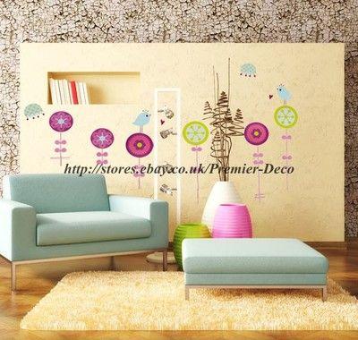 Lovely cartoon singing bird Wall Sticker Nursery Room / Wall Decal ...
