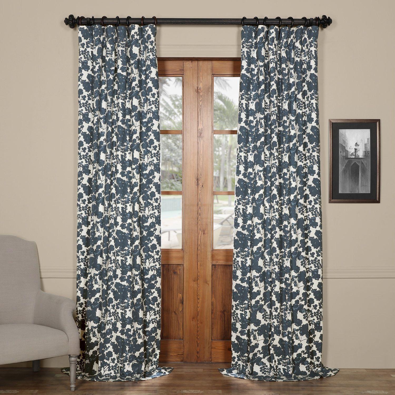 Exclusive Fabrics Fleur Blue Cotton Printed Single Curtain Panel