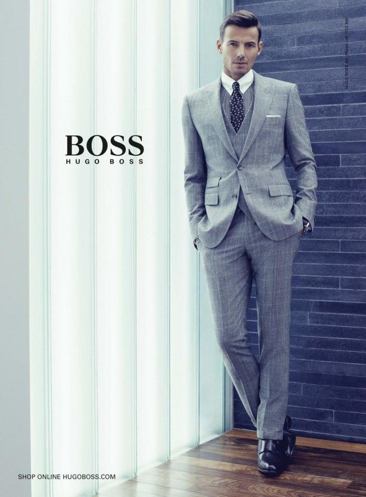 0d02b28a Hugo Boss the 3-piece combination. Fantastic suit, vest and slim-fit pants  with cuffs. #mensfashion #HugoBoss #suit #trendy #men fashion #grey suit