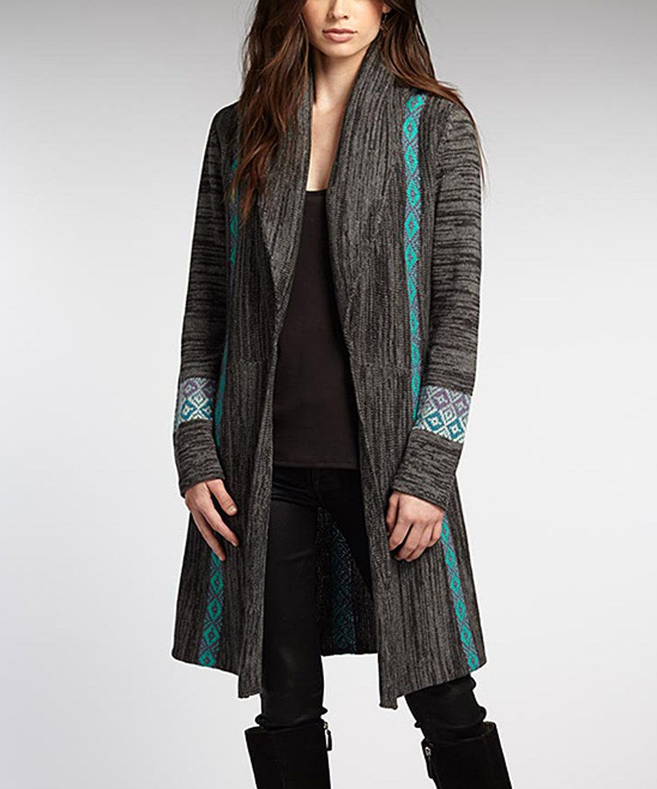 Look at this #zulilyfind! Indigenous Charcoal & Teal Alpaca Long Open Cardigan - Women by Indigenous #zulilyfinds