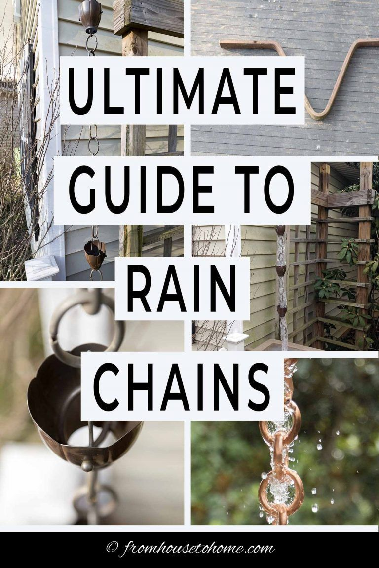 Learn all about what rain chains are, how you use them, and how to install them. Plus get lots of ideas and inspiration from the pictures of rain chains in front and backyards. #fromhousetohome #gardenideas #curbappeal #rainchains #waterfeatures  #gardens