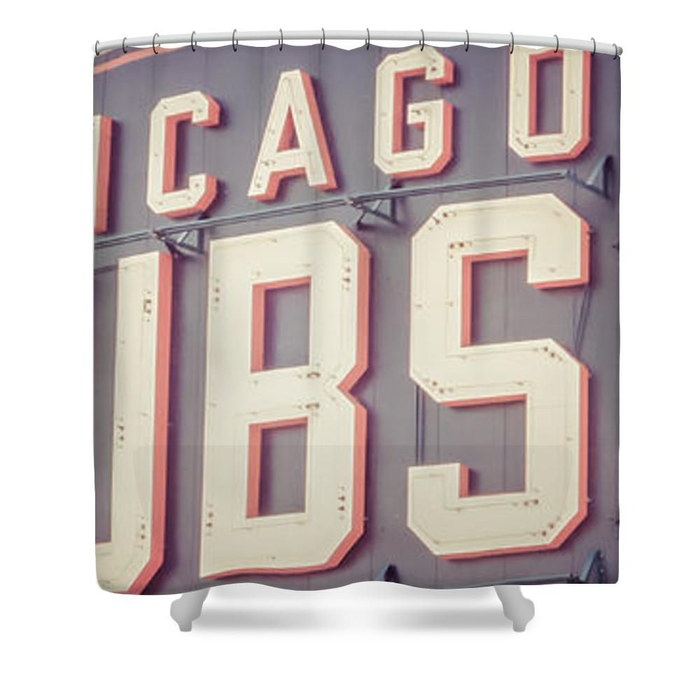 Chicago Cubs Sign Vintage Panoramic Picture Shower Curtain By Paul