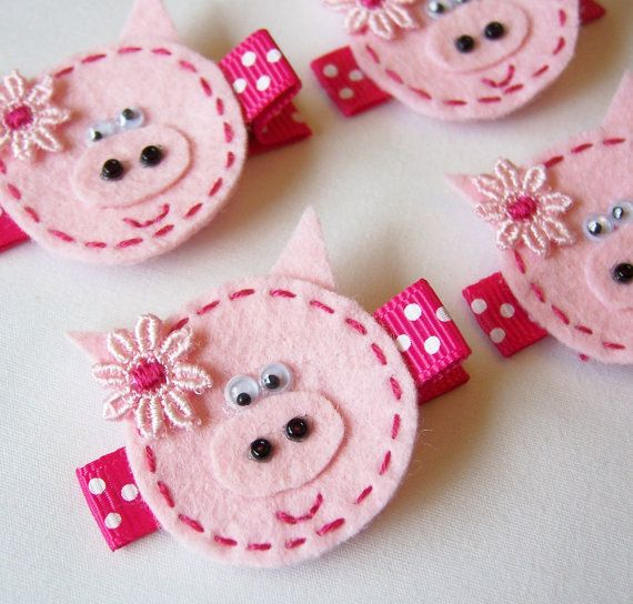 Pink Piggy Felt Hair Clip No tut just idea