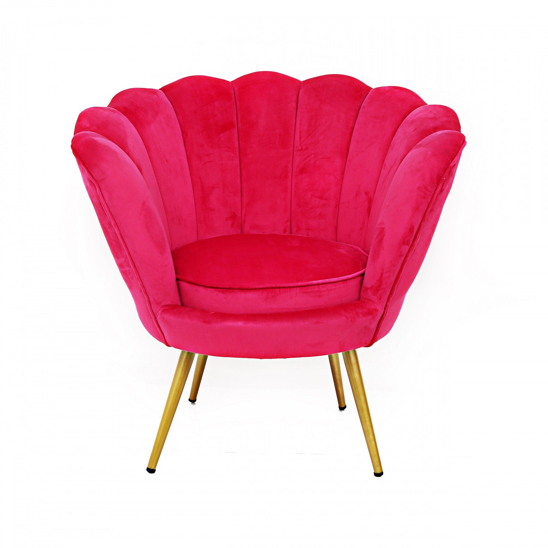 Hot Pink Velvet and Gold Scalloped Chair Chairs