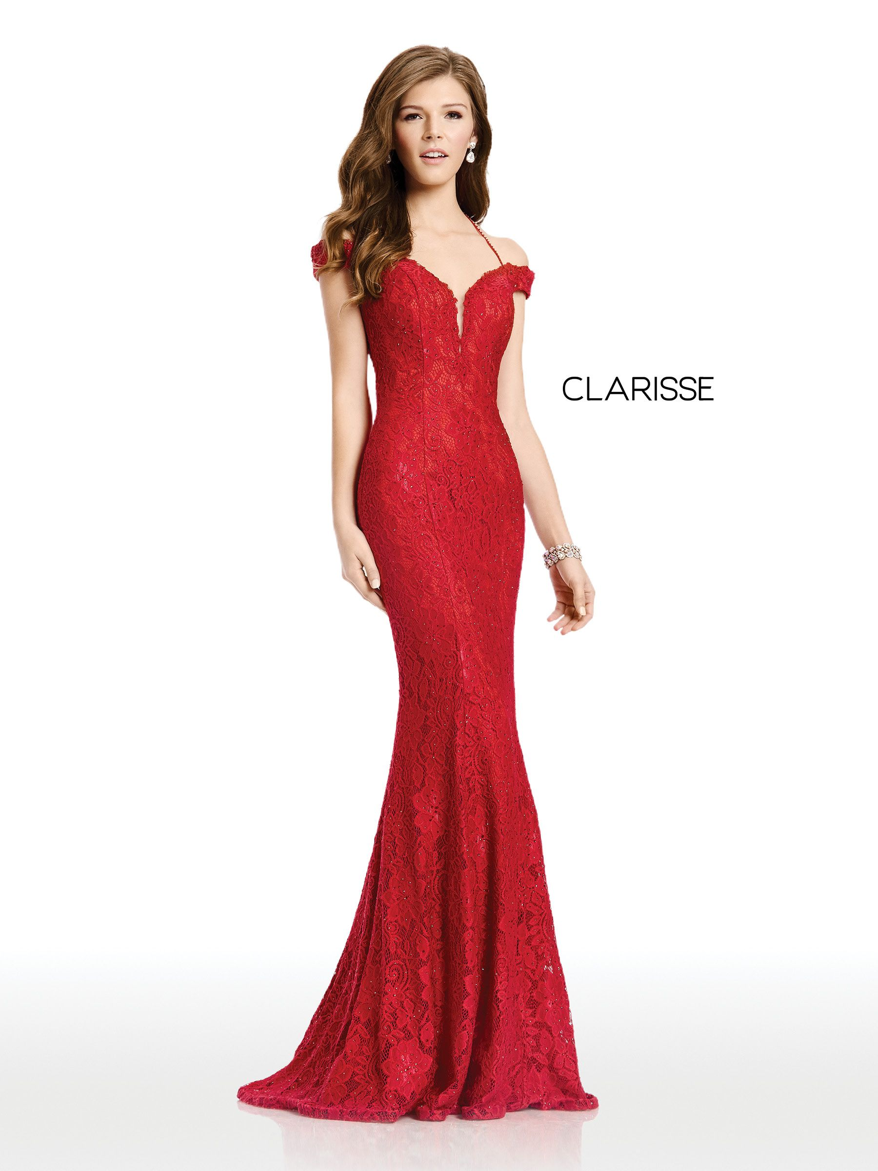 4801 - Vamp Red off the shoulder lace prom dress with a fit to flare bottom c979b07647e2
