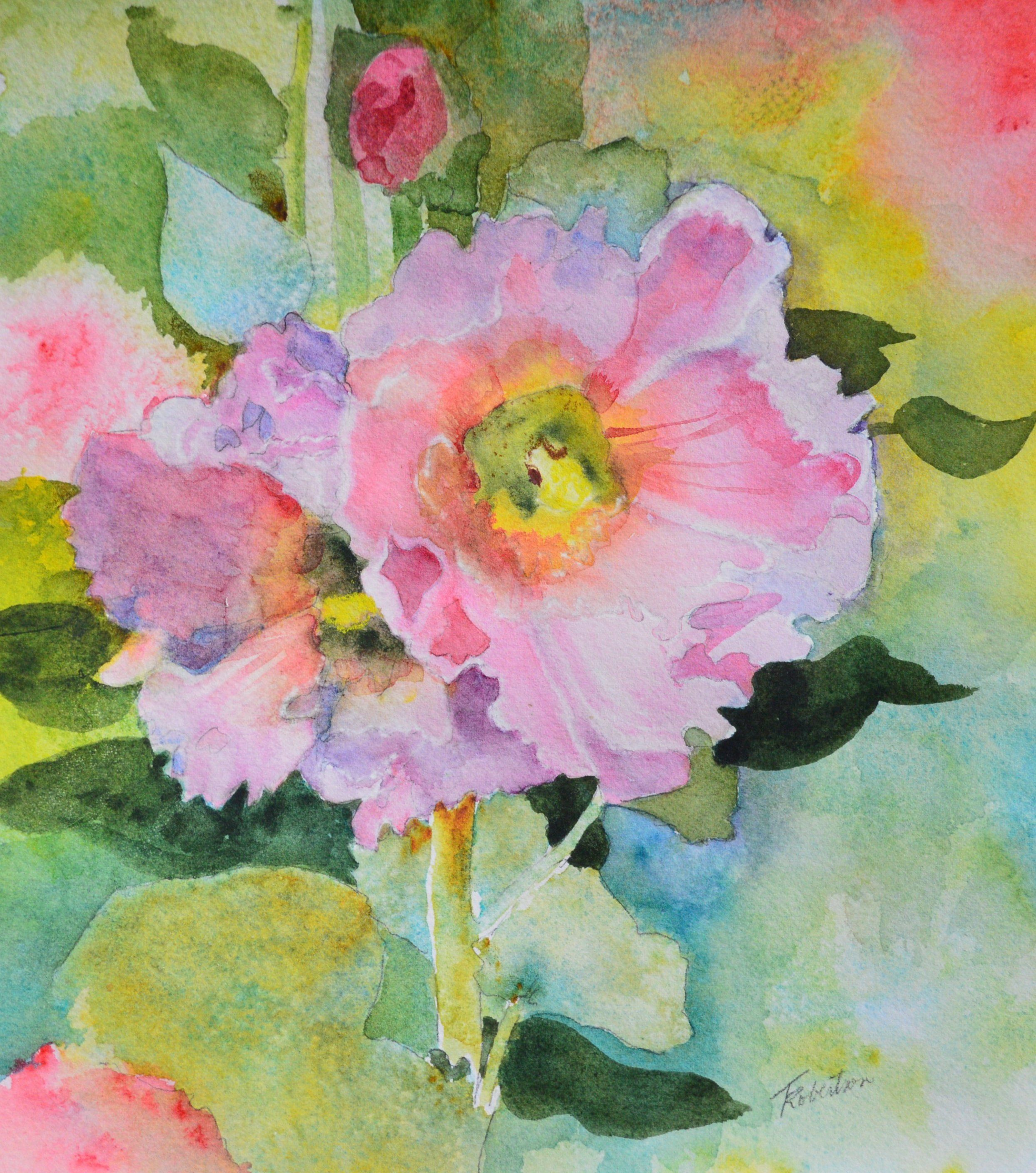 Watercolor Painting Original Pink Hollyhock Floral Decor Summer