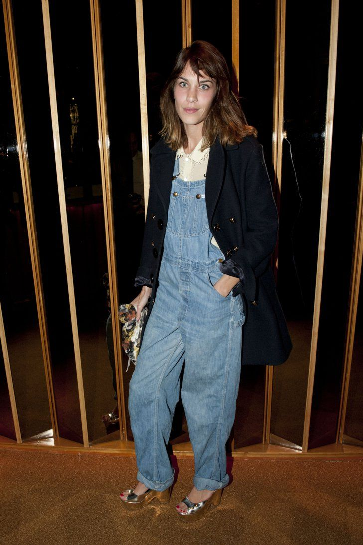 Pin for Later: Jean-ius! What You Can Expect to See From Alexa Chung's New Denim Collab Alexa Chung + AG Jeans Baggy overalls with a pair of silver heels? Yes please! We'll take the denim and the easy styling here.