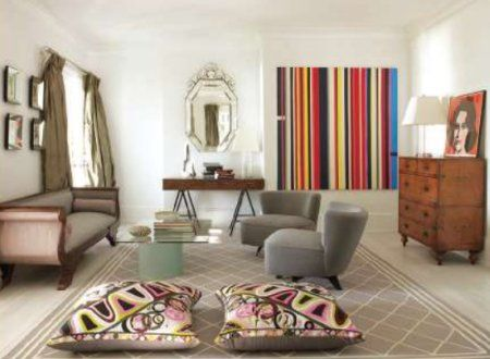 love the dressers, the couch, the cushions, the victorian mirror, the multi-colour wall-paper ... everything