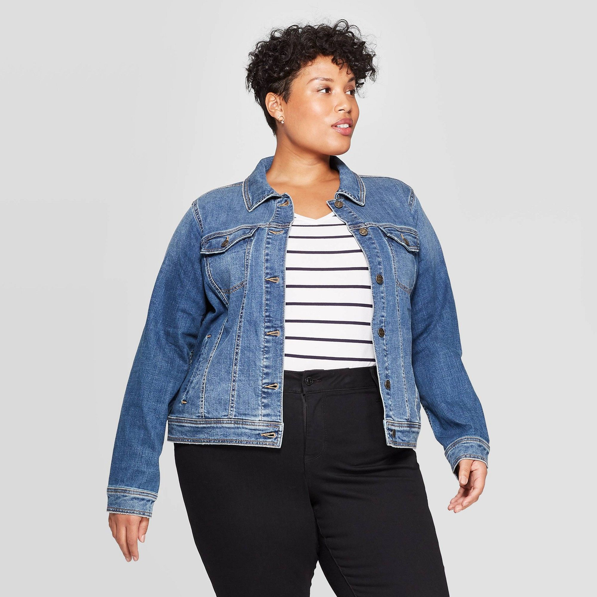 Women S Plus Size Jean Jacket Ava Viv Medium Wash 3x Size 3xl Blue Women S Plus Size Jeans Plus Size Jeans Striped T Shirt Dress [ 2000 x 2000 Pixel ]