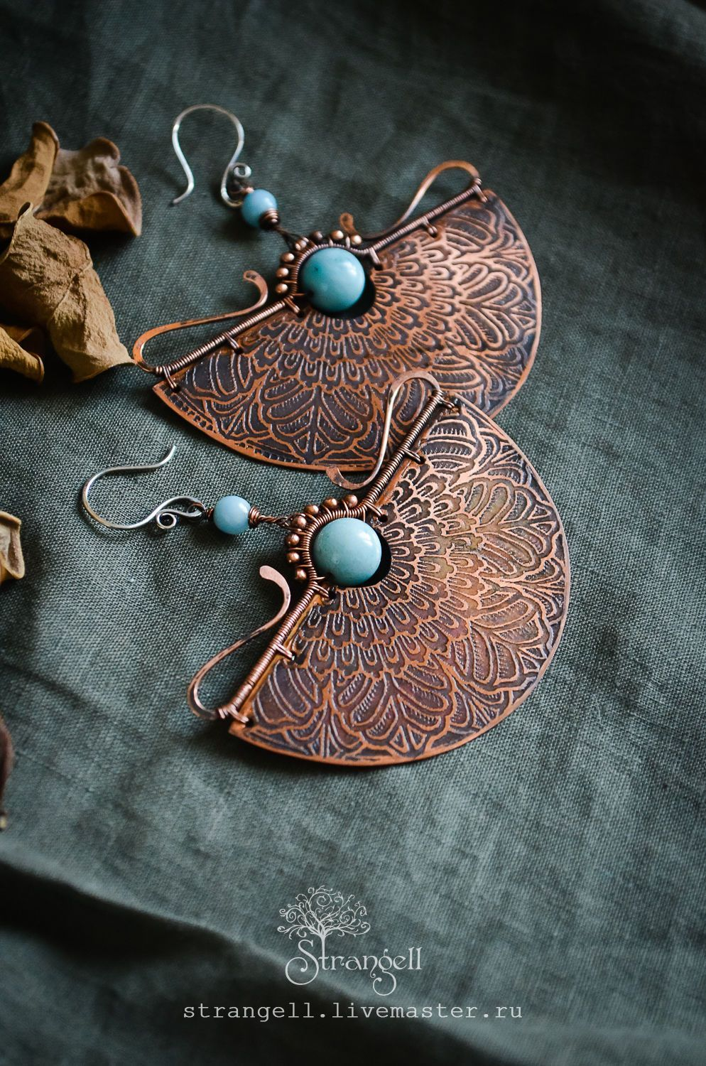 6e71fdf4a Large ethnic copper earrings with larimar. Blue, ornament, boho – shop  online on Livemaster with shipping - AHQJDCOM | Ulan-Ude #handmadejewelry