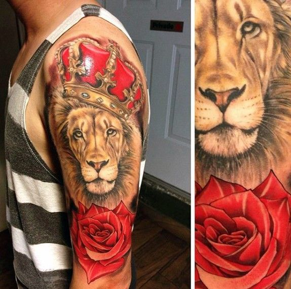 Realism Style Colored Shoulder Tattoo Of Lion With Crown And Rose Lion Tattoo Crown Tattoo Men Upper Arm Tattoos
