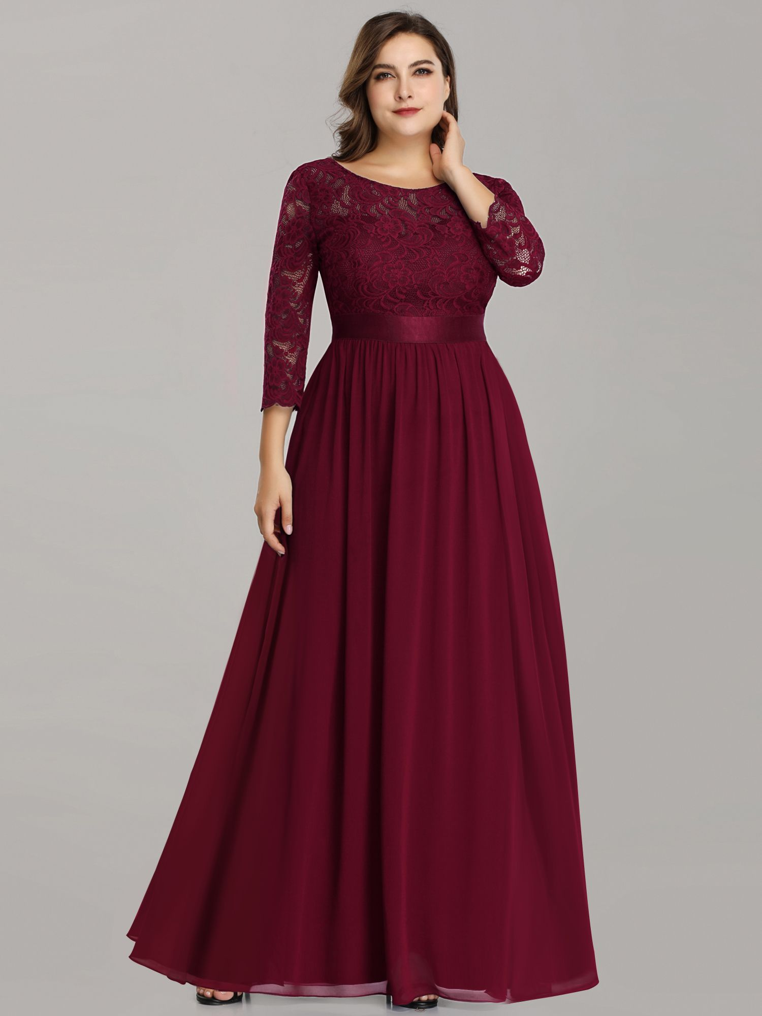 Ever Pretty Ever Pretty Womens Vintage Floral Lace Long Sleeve For Long Sleeve Bridesmaid Dress Burgundy Bridesmaid Dresses Long Bridesmaid Dresses Plus Size [ 2000 x 1500 Pixel ]
