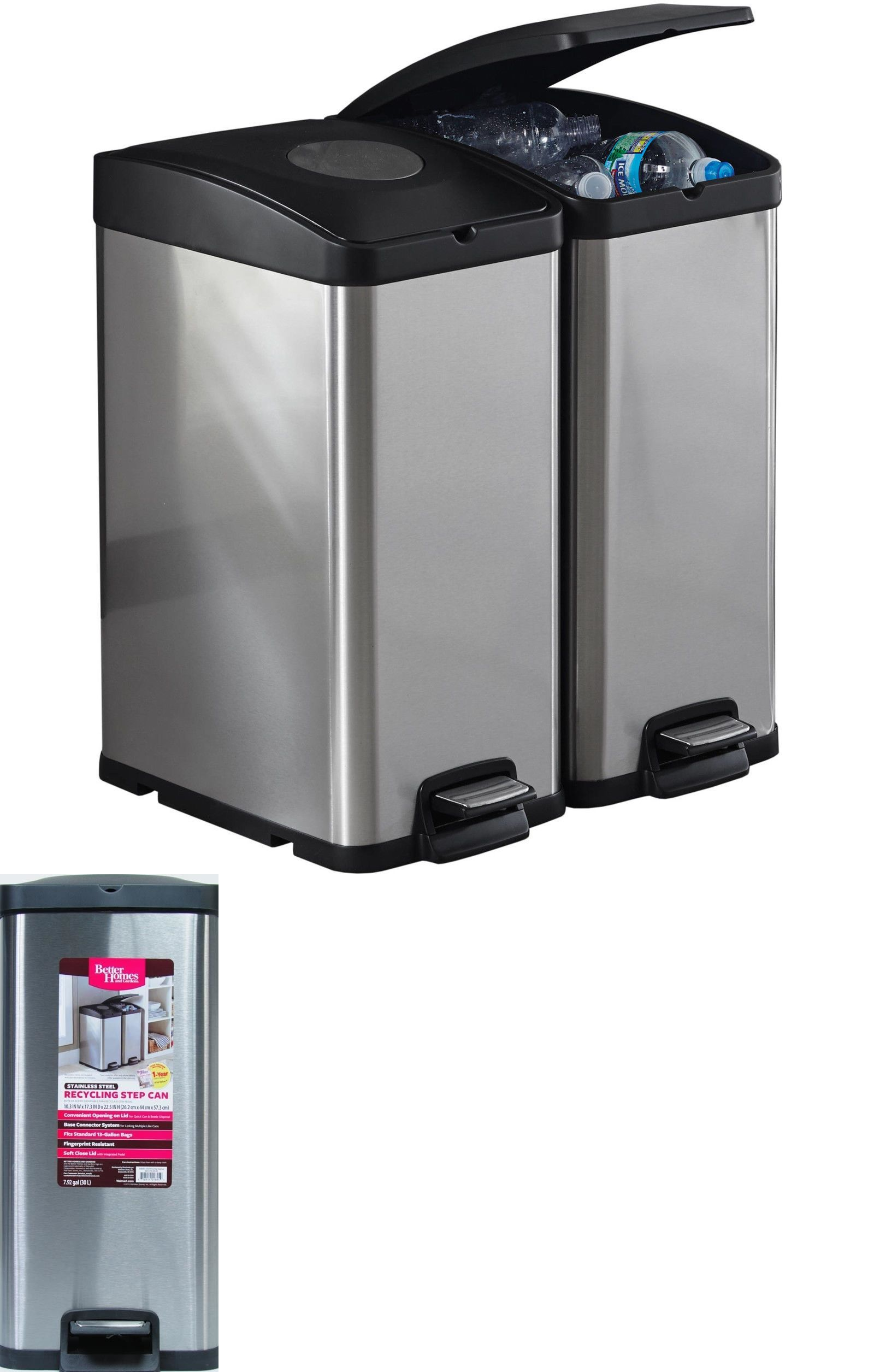 Trash Cans And Wastebaskets Trash Cans And Wastebaskets 20608 Kitchen Recycle Bin 30L Stainless