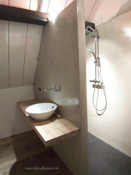 Tadelakt badkamer met houten blad en keramische kom. | Tadelakt ...