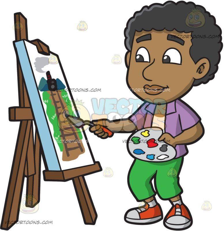 A Black Boy Painting A Rail Landscape | Kid Clipart | Pinterest