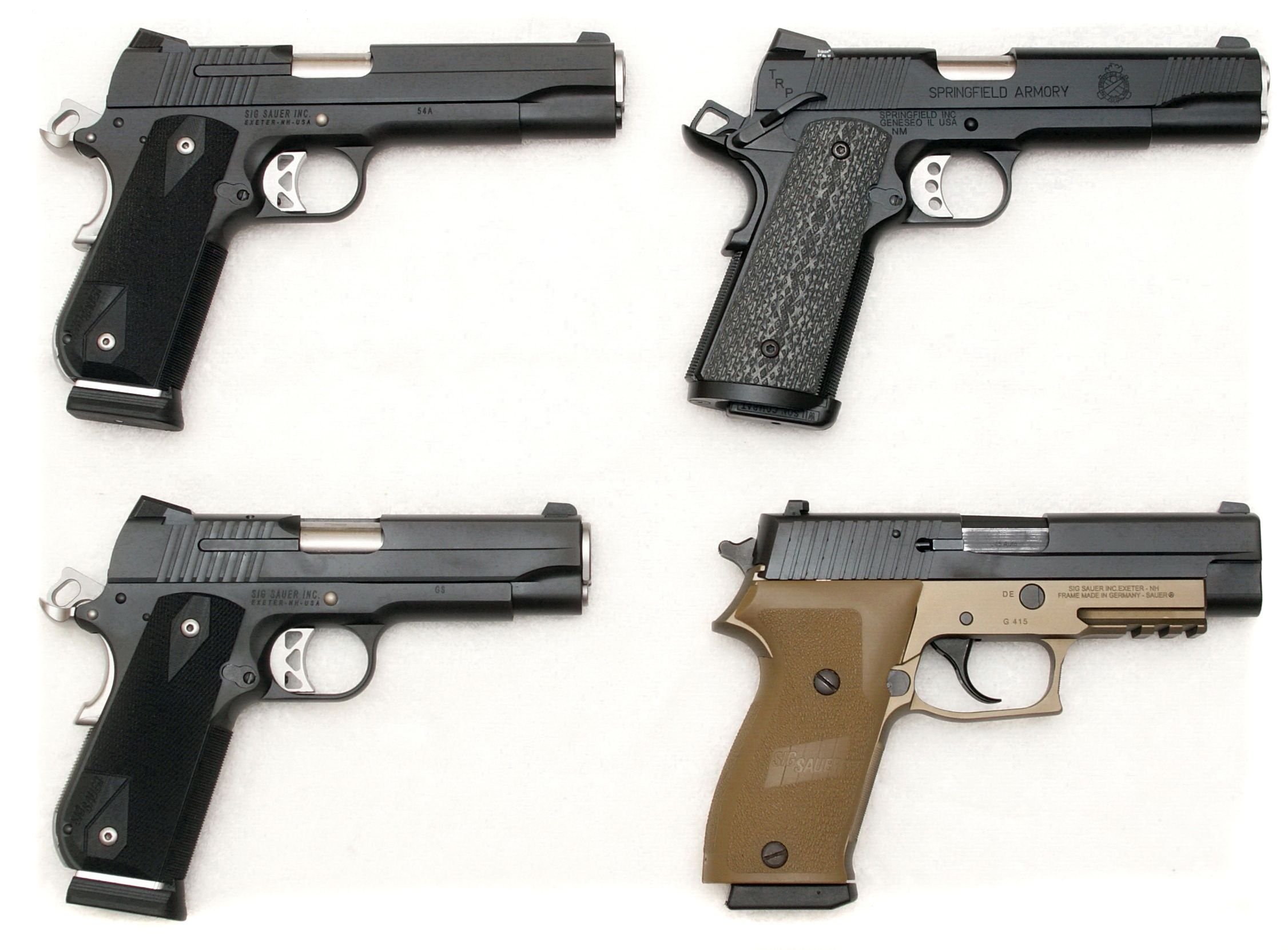 45s: Sig 1911 Nightmare, Springfield 1911 TRP, Sig 1911 Carry ...