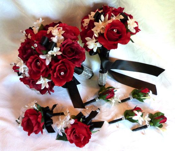 Red rose bouquet red white black wedding bouquet and boutonniere red rose bouquet red white black wedding by churchmousecreations mightylinksfo