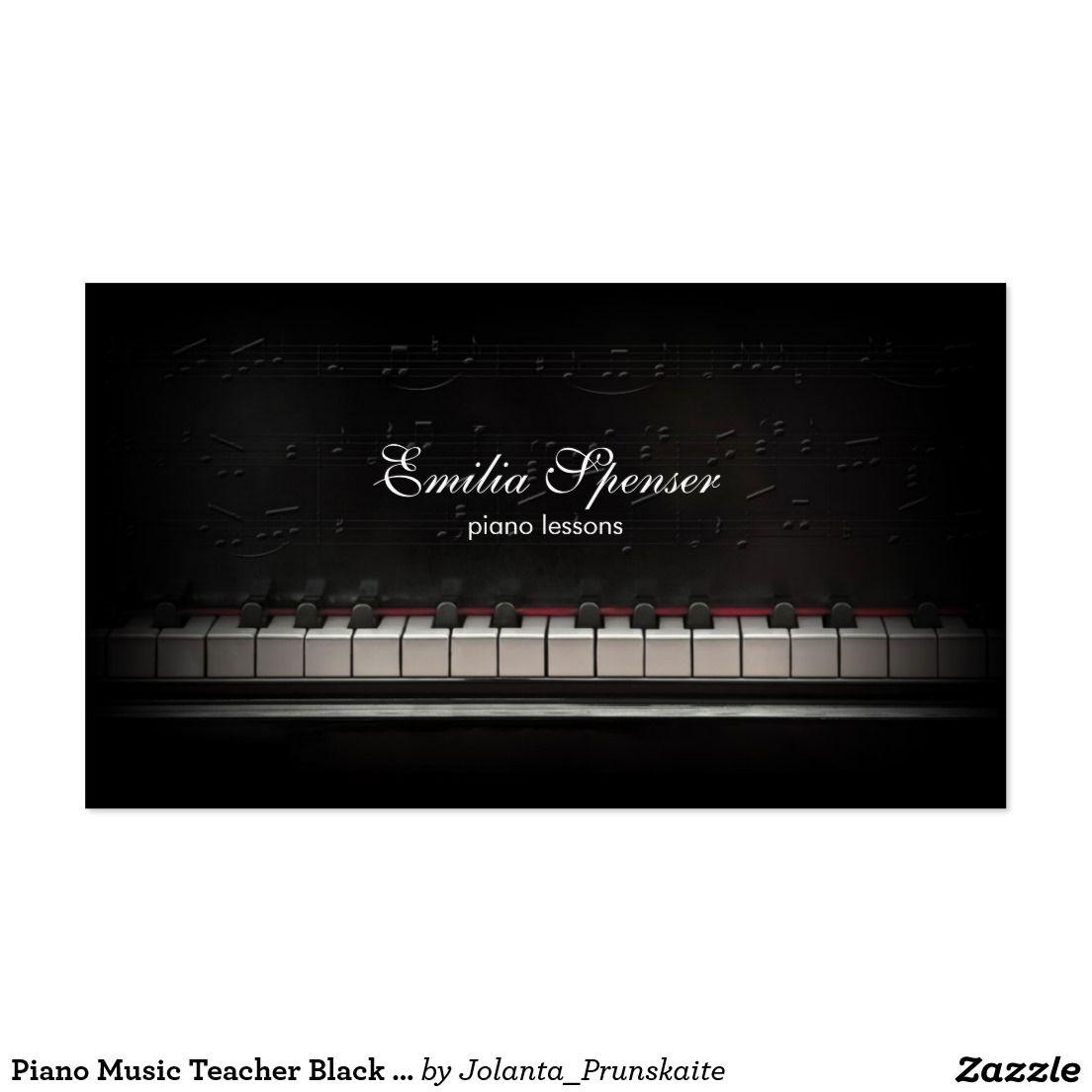Piano Music Teacher Black Business Card Zazzle Com Teacher Business Cards Black Business Card Musician Business Card