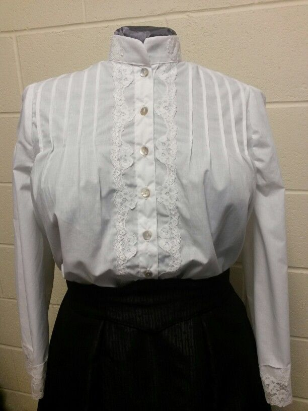 Front fastening Edwardian blouse with pintuck detail, delicate lace and white cotton.