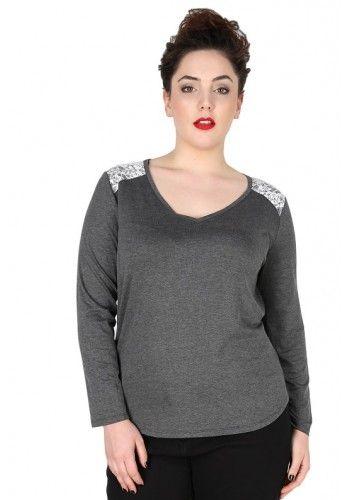Tee-shirt grande taille sequins Grisou - Jiuly - Dispo sur www.pampleon.com