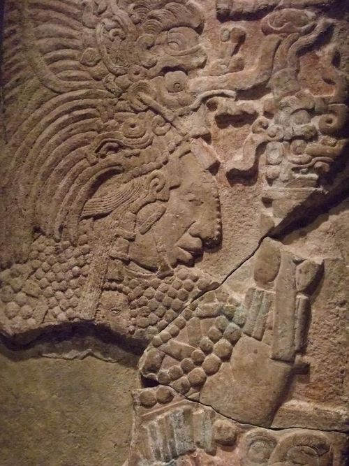 Mayan wall panel from the Late Classic era depicting Na-Bolon-K\'an ...