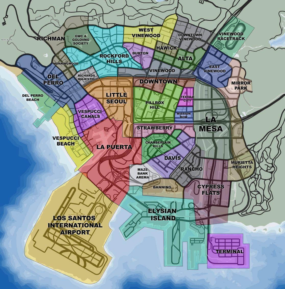 GTA Los Antos Video Games Pinterest Video Games - Los angeles geography map