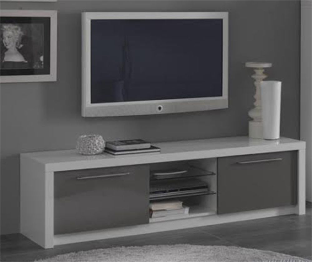 Tonnant Meuble Tv Blanc Et Gris Laqu D Coration Fran Aise  # Ensemble Meuble Tv Table Basse