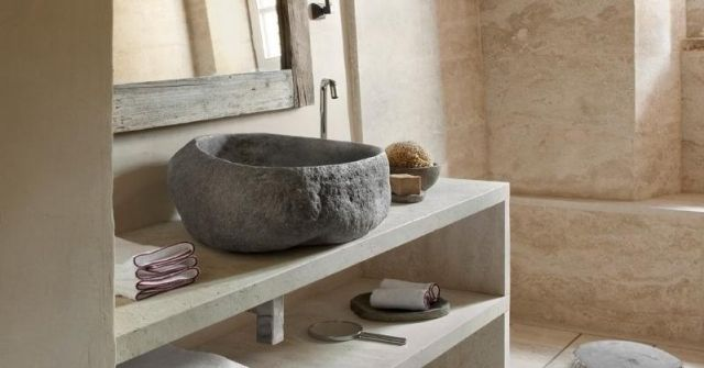 rustikal badezimmer-waschbecken stein design ideen-hotel | ideas, Hause ideen