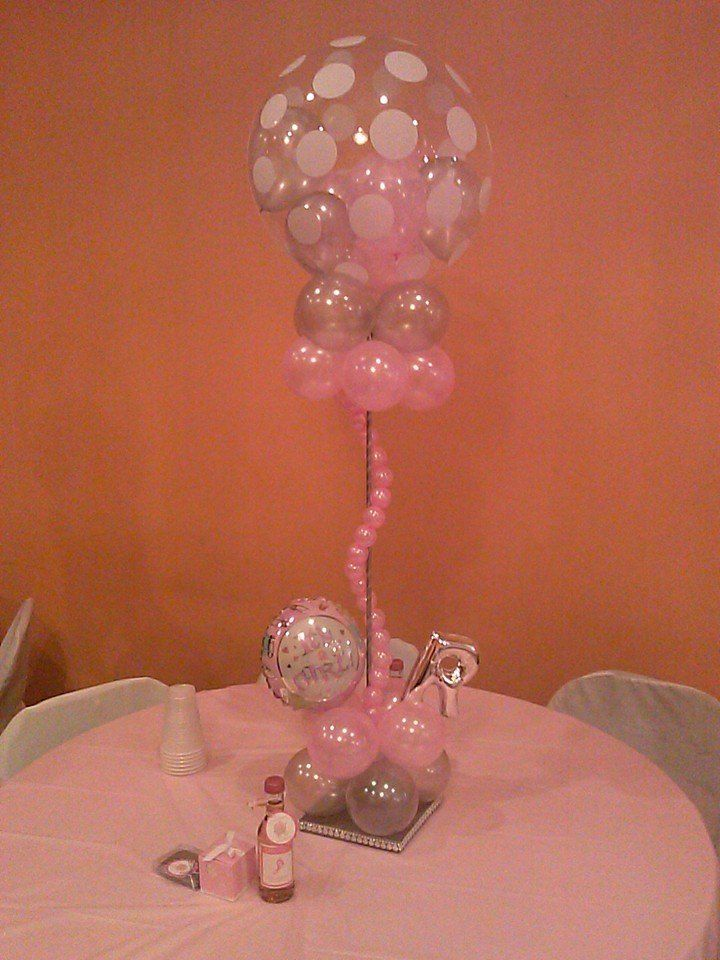 It s a girl baby shower table centerpiece note the small